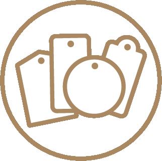 Bulk Printed Hang Tags - Ready Shape Templates 1 Icon